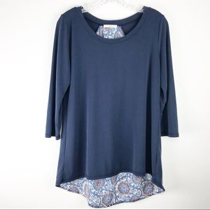 LE Lis 3/4 Sleeve Hi Lo Boho Top Medium